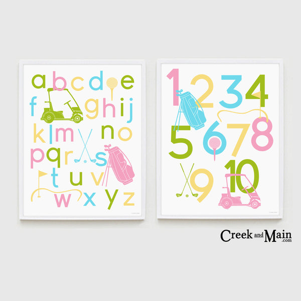 girls golf wall art, printable nursery art