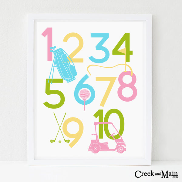 girls golf wall art, kids nursery art