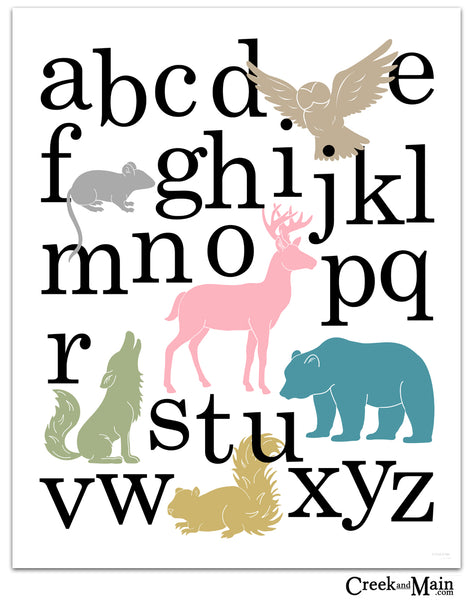 Girls woodland alphabet poster, instant download