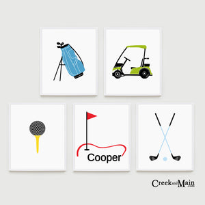 Golf nursery art, kids golf bedroom art