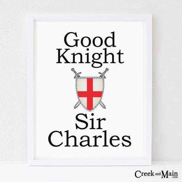 Good Knight Sir wall art, kids nursery art