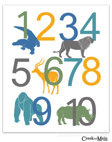 jungle nursery art, number poster, kids bedroom art
