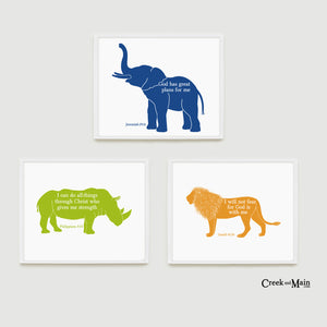 Safari nursery wall art, kids bible verse prints
