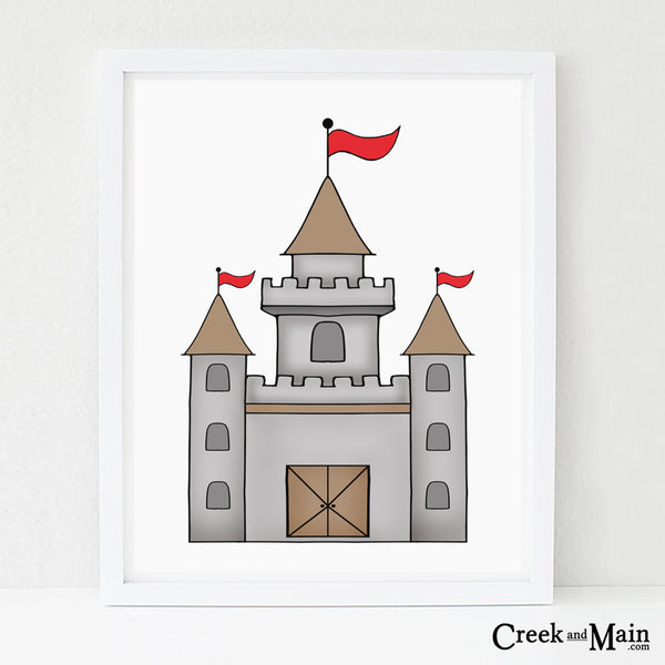 castle wall art, kids nursery decor