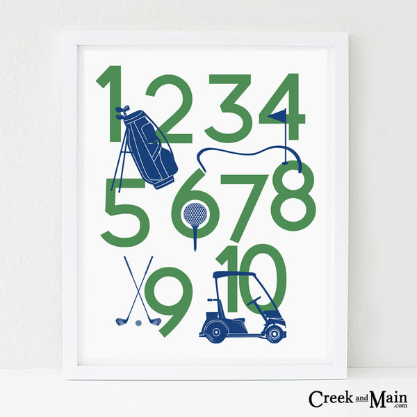 golf wall art, kids golf decor