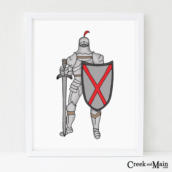 Knight wall art, kids nursery decor