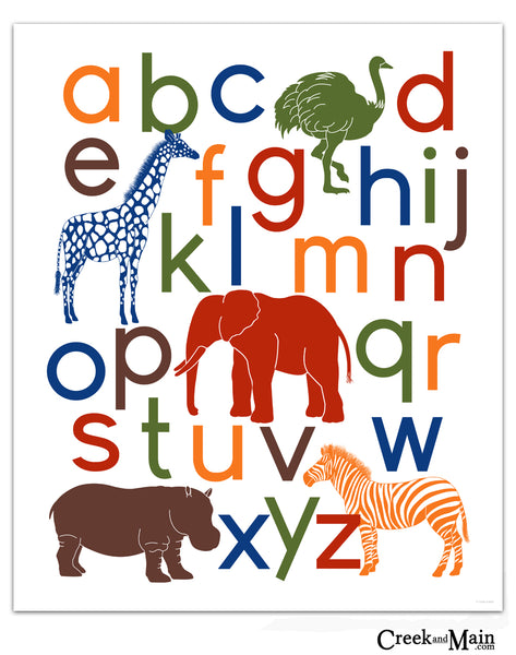 safari nursery art, jungle alphabet poster