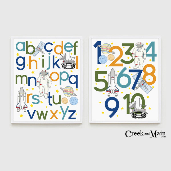 Kids space wall art, alphabet and number prints