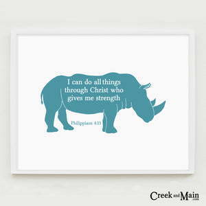 Rhino nursery art, bible verse wall art