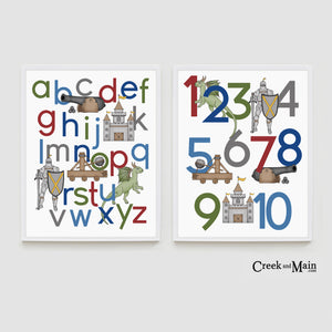 Medieval Alphabet Poster, Knight number Poster