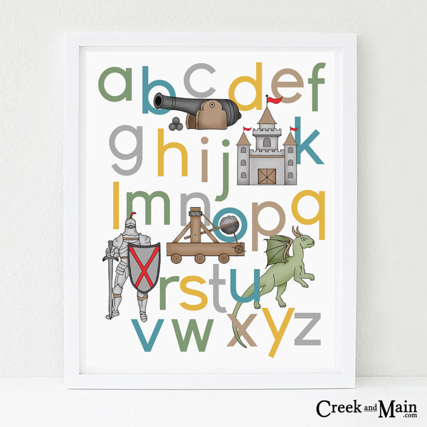 Knights and Dragon Nursery Art, Alphabet poster
