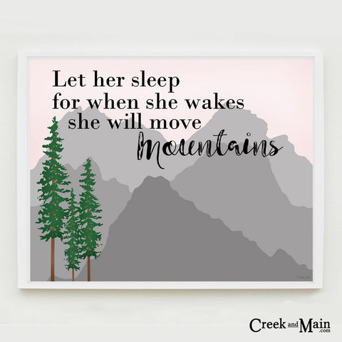 let her sleep wall art, nursery decor, mountains, pine tree
