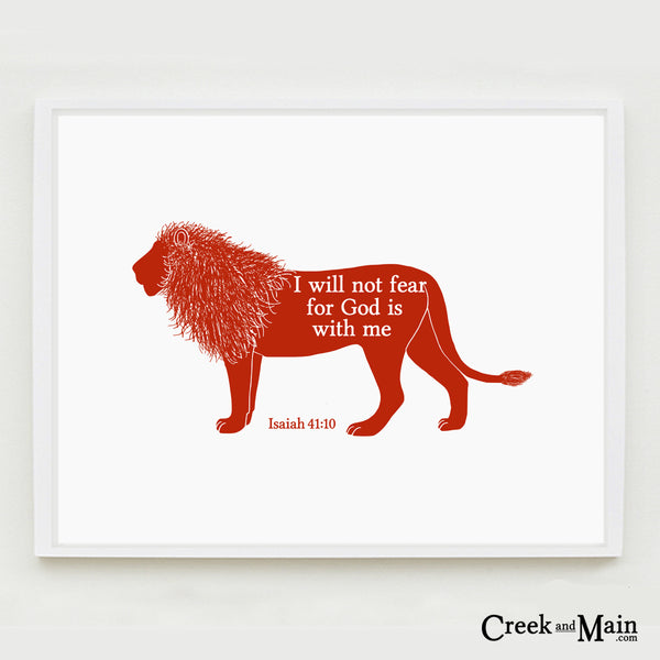 Lion nursery art, safari decor, bible verse
