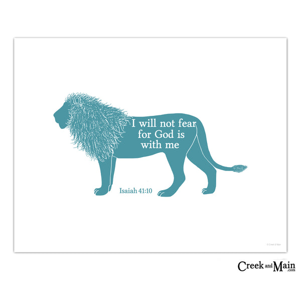 Kids Bible Verse Wall Art, Lion Nursery Art