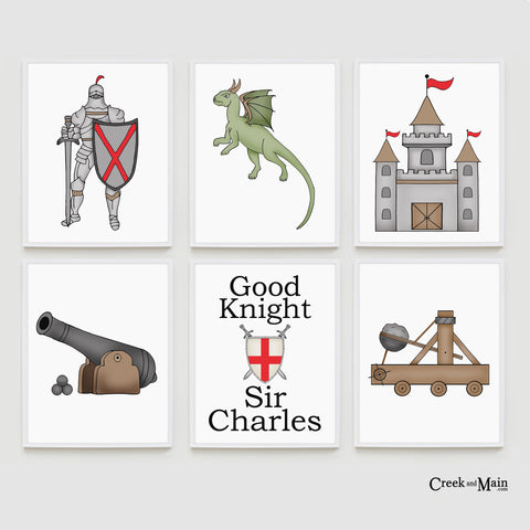 Kids knights and dragon nursery art