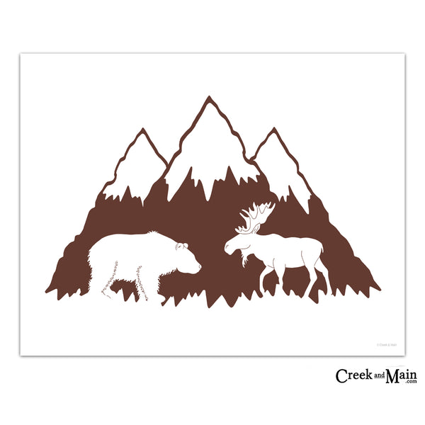 printable adventure nursery art, moose and bear, mountain art