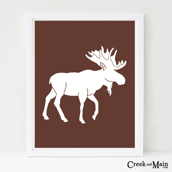 printable woodland nursery art, moose