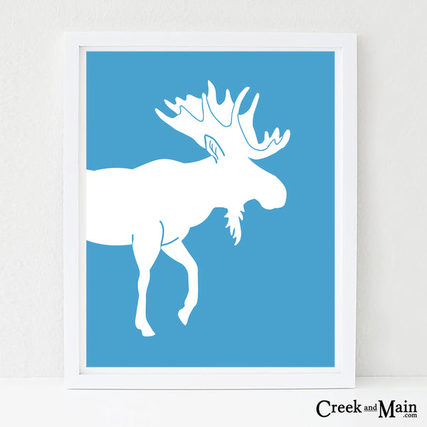 kids moose wall art, woodland nursery decor