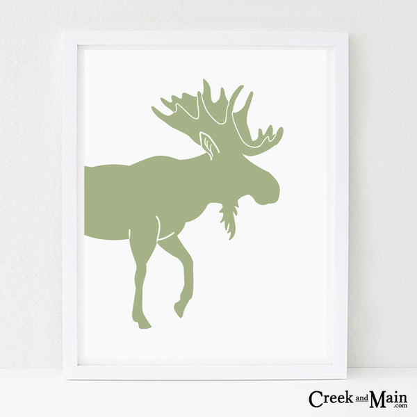 moose nursery art, woodland animal print