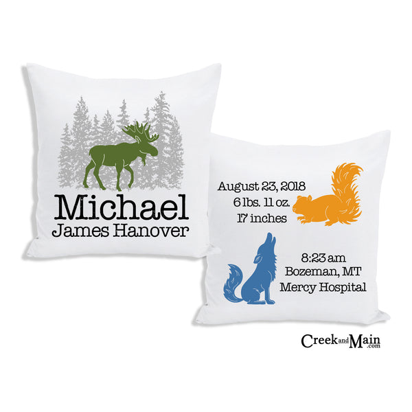 Moose birth stat pillow, woodland nursery decor