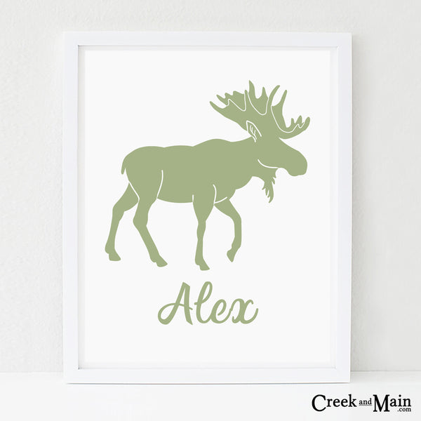 Custom name wall art, moose