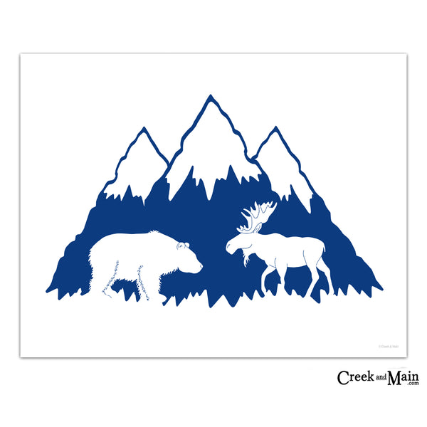 mountain nursery, printable wall art, navy blue