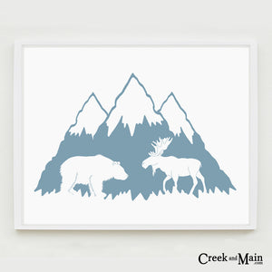 mountain nursery art, woodland animals