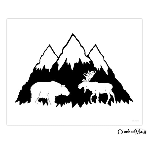 printable mountain nursery decor, black and white