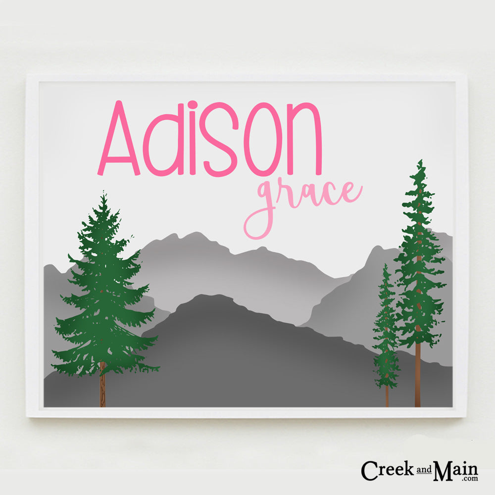 mountain nursery, personalized nursery art