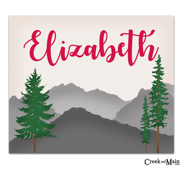 personalized nursery art, mountain decor