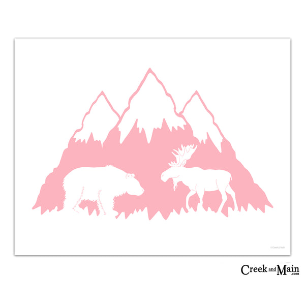 girls mountain decor, printable wall art