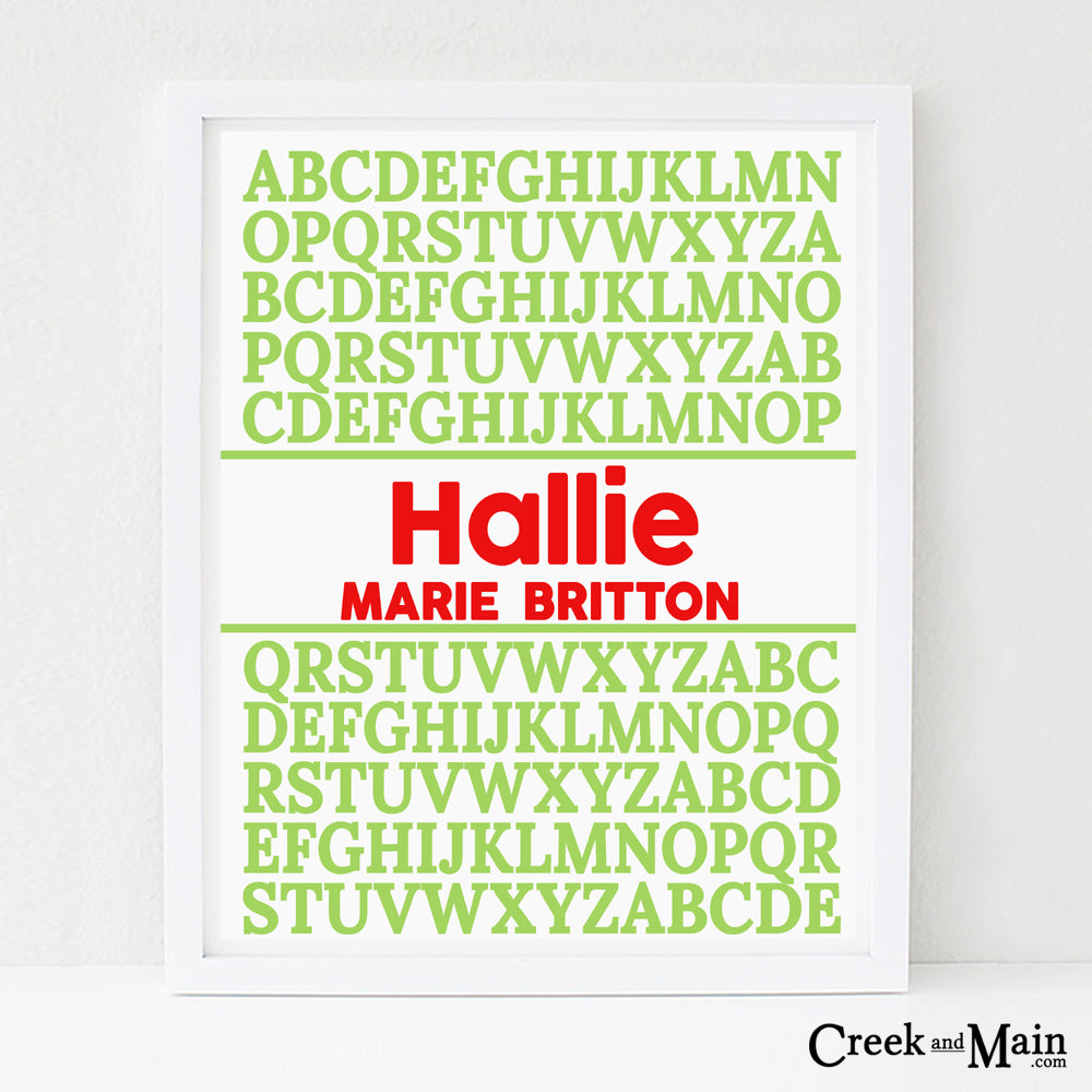 Personalized alphabet poster