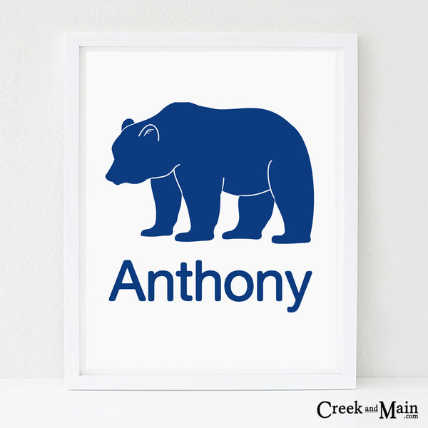 personalized bear nursery art, woodland decor