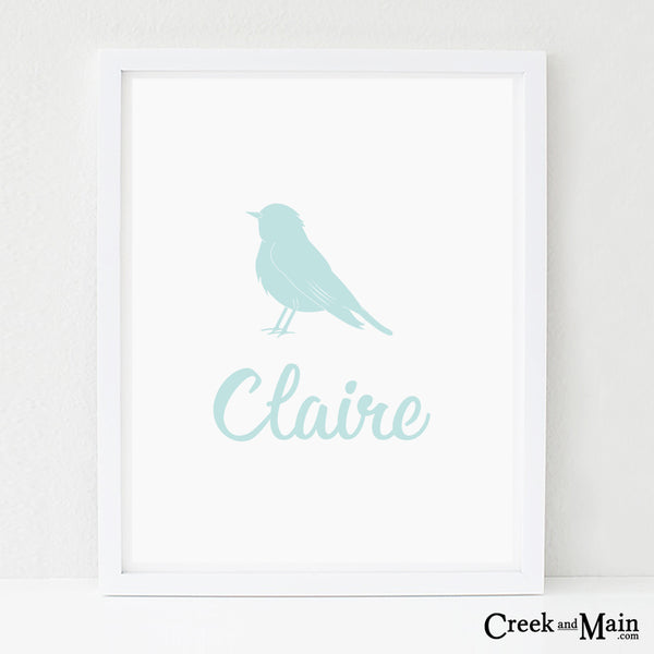 personalized bird art, printable woodland nursery art