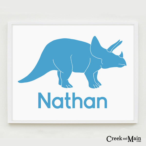 Printable Dinosaur nursery art, Personalized, Triceratops