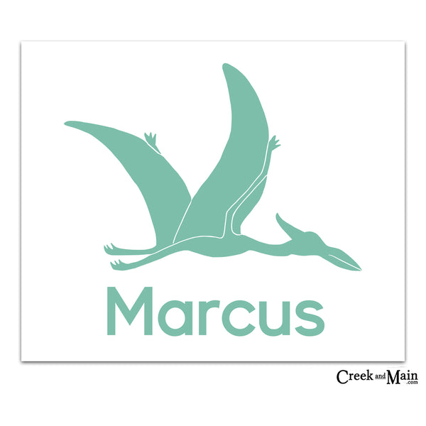 dinosaur nursery, pterodactyl, personalized wall art