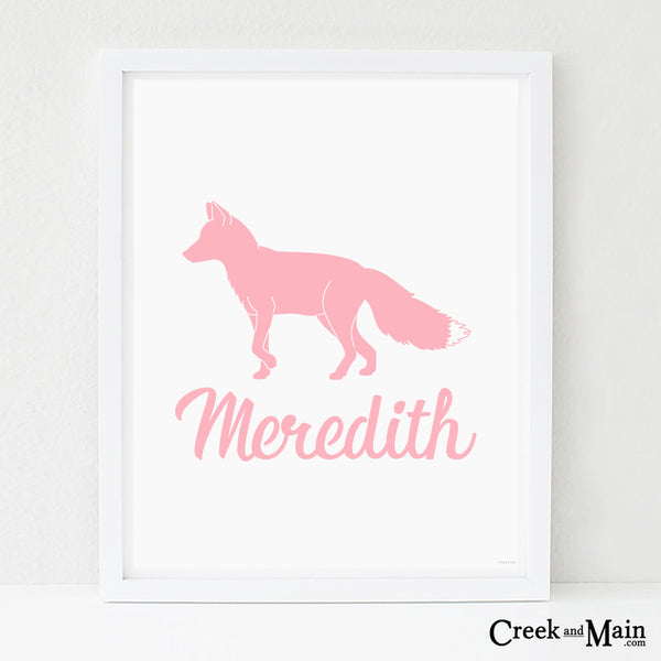 personalized fox nursery art, woodland decor