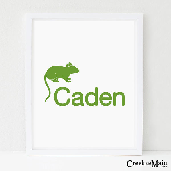 personalized woodland nursery art, mouse