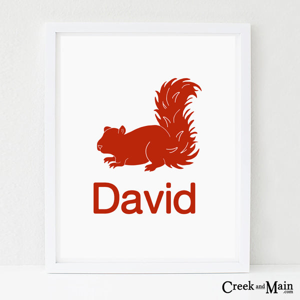 personalized squirrel art, woodland decor
