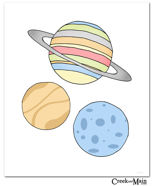 Planets wall art, Outer space nursery, kids bedroom art