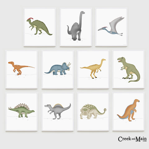 Dinosaur nursery art, kids dinosaur bedroom decor