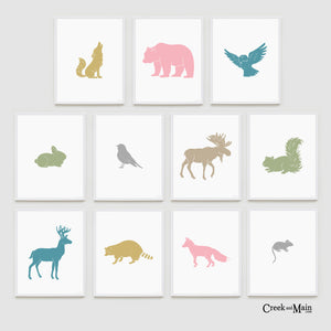 printable girls woodland art, woodland animals