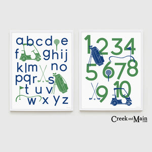 Printable golf nursery art, alphabet poster