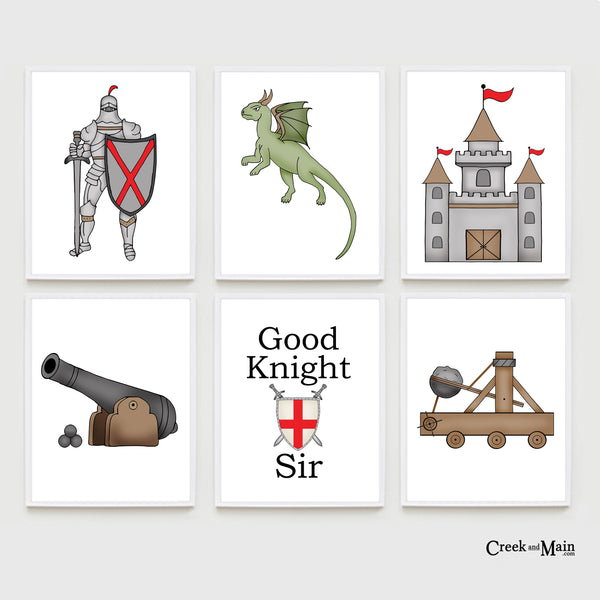 Fairy tale kids nursery art, knight, dragon, castle
