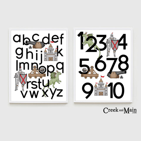 Printable Medieval Knight Alphabet and Number Poster