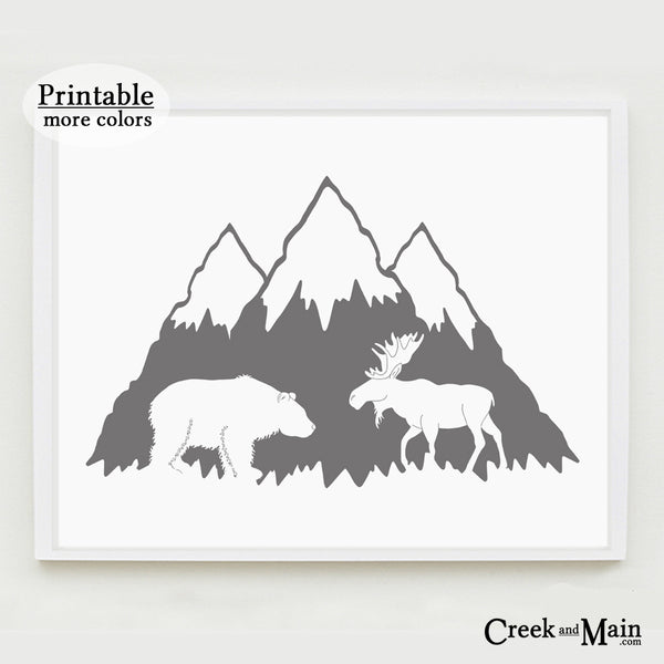 Printable mountain nursery art