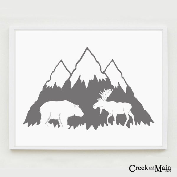Printable mountain nursery art, bear and moose