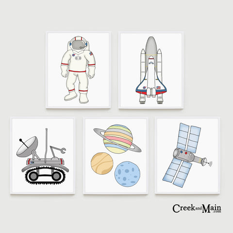 Printable space nursery art, kids bedroom art