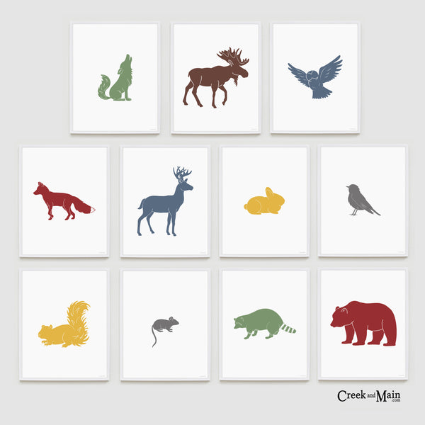 printable woodland animal art, nursery wall art