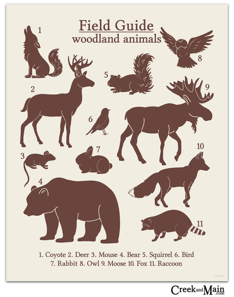 woodland nursery, printable animal poster